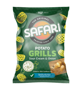 safari potato grills souer cream and onion chips pack