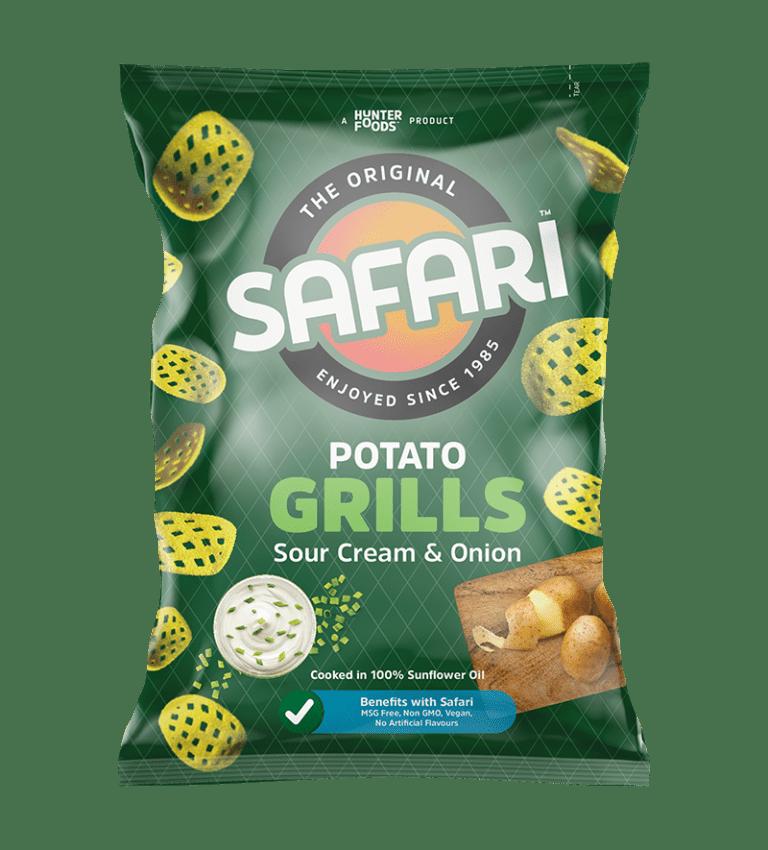 safari potato grills souer cream and onion chips pack